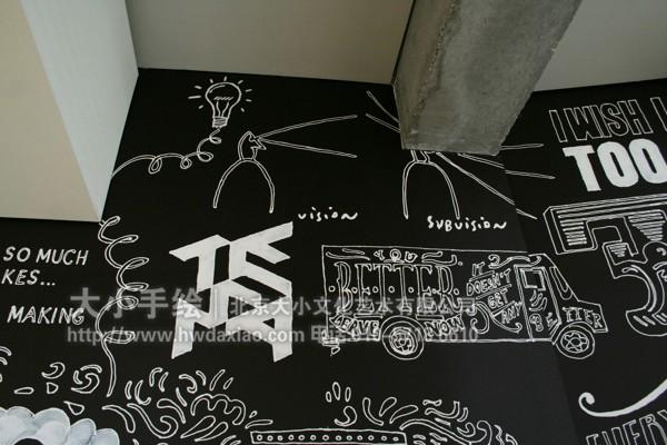 办公室涂鸦手绘墙壁画 墙体彩绘
