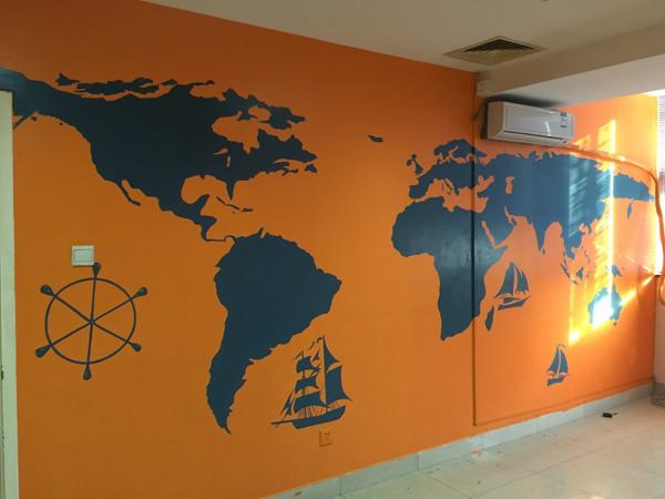 旅行主题办公空间手绘墙壁画 墙体彩绘