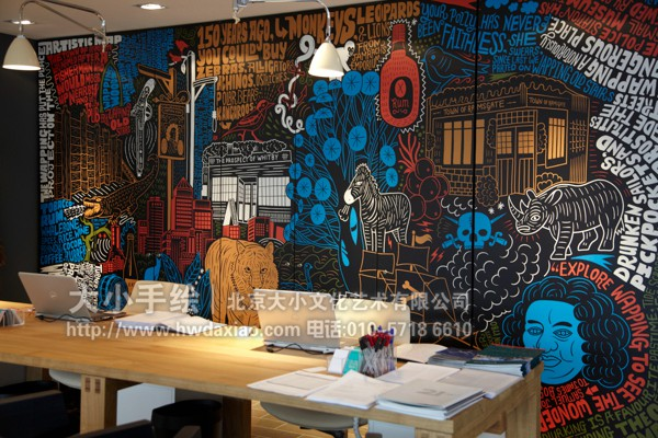 五彩城市写意soho办公室手绘墙壁画 墙体彩绘
