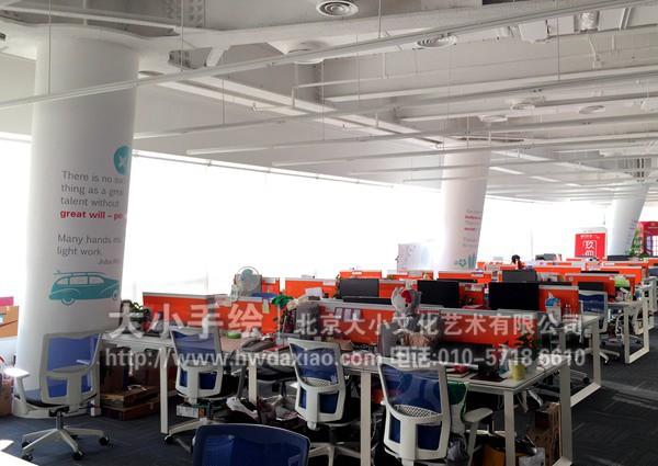 大型办公空间柱子励志名人名言手绘墙壁画