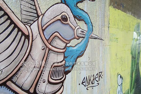 街道创意墙绘 外墙壁画 长颈鹿 飞鸟 机械化 涂鸦手绘墙 文化墙彩绘