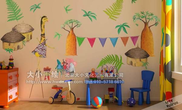 可爱的卡通儿童房手绘墙壁画