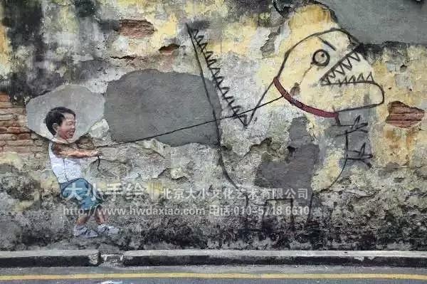 头涂鸦手绘墙壁画