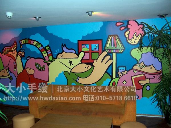 创意墙绘 办公手绘墙 涂鸦壁画 卡通人物彩绘 篮球 party 聚会 ktv
