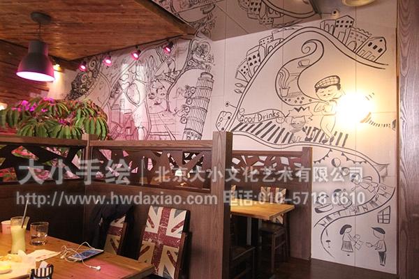 餐厅手绘墙 咖啡厅墙绘
