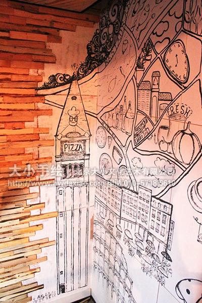 ... 墙绘 素描墙绘 楼梯间壁画 店铺彩绘 北京墙绘公司