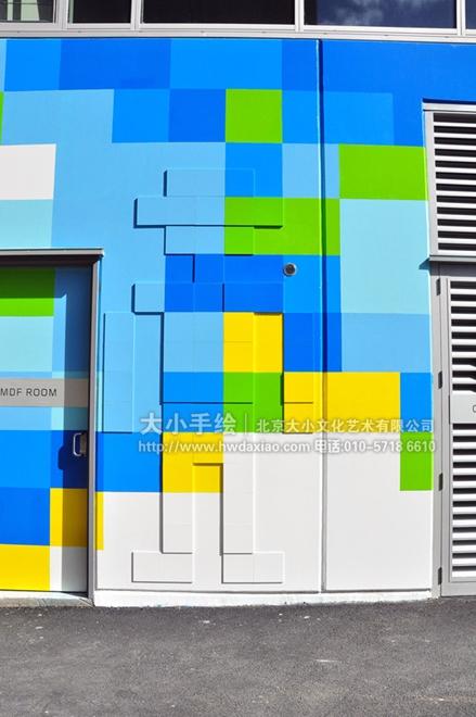 街道创意墙绘 外墙壁画 色块 商铺外墙壁画 涂鸦手绘墙 文化墙彩绘 餐
