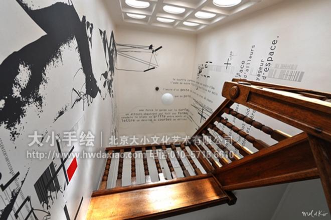 涂鸦壁画 卡通人物彩绘 文字 剪影 走廊壁画 楼梯间手绘 餐厅手绘墙