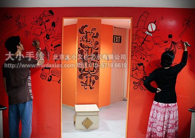 简单时尚办公室手绘墙壁画 墙体彩绘