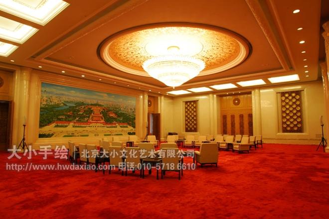 创意墙绘 办公手绘墙 人民大会堂