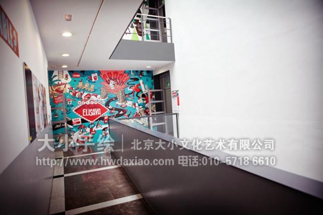 校园连廊奇思妙想文化手绘墙壁画 墙体彩绘