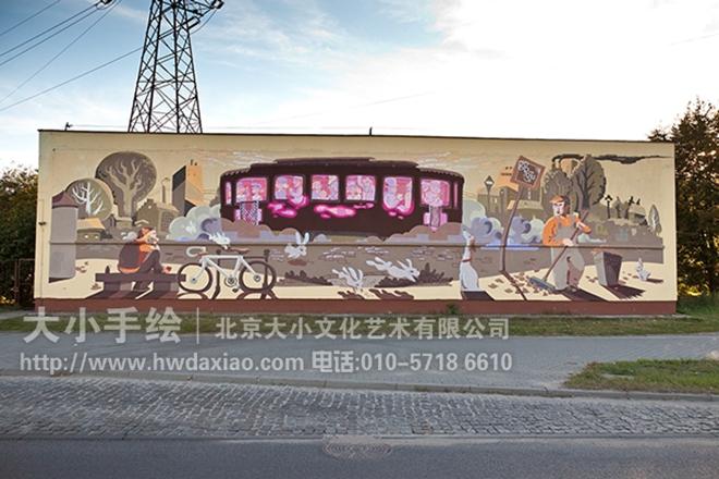 火车 涂鸦手绘墙