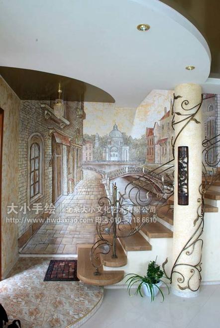 走廊墙绘 别墅壁画 创意墙绘 古典手绘墙 风景油画 客厅墙绘 店铺彩绘