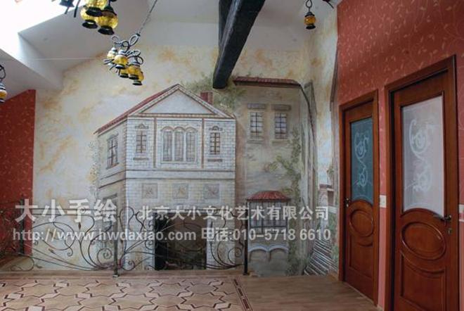 欧式客厅油画墙绘