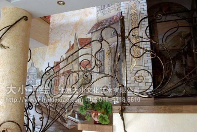 创意墙绘 古典手绘墙 风景油画客厅墙绘 店铺彩绘 商场手绘墙 餐厅手