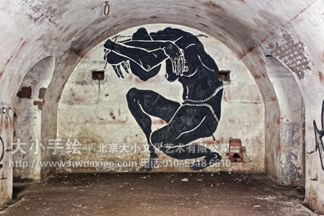工业风格涂鸦墙绘-粗犷复古 抽象原始岩画风格手绘墙壁画 墙体彩绘