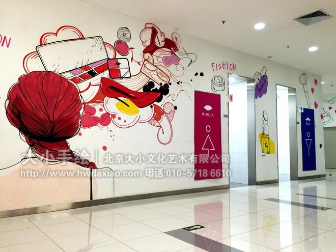 时尚女孩与美妆 商场走廊手绘墙壁画 墙体彩绘