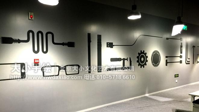 简洁大方的办公室空间手绘墙壁画 墙体彩绘 今日头条