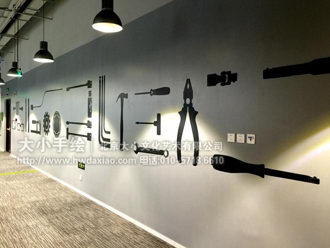 创意墙绘 办公手绘墙 涂鸦壁画 速写彩绘 电脑 手机 眼镜 齿轮 工具图片