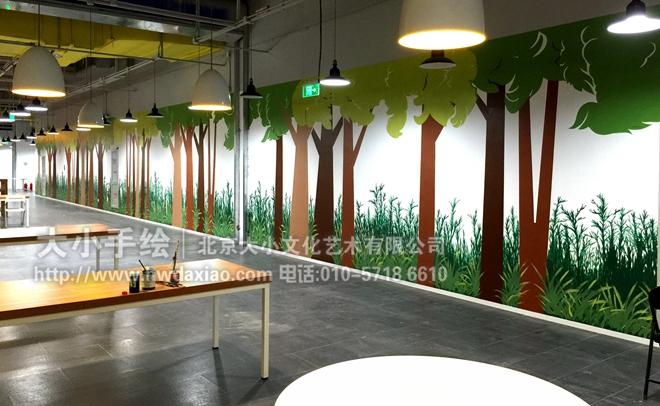 树木办公室手绘墙壁画 墙体彩绘