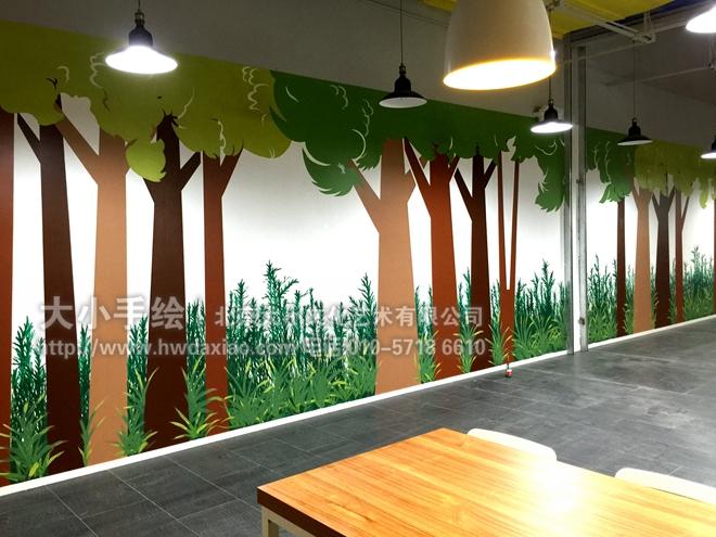 创意墙绘 办公手绘墙 涂鸦壁画 速写彩绘 森林 草坪 树木 今日头条