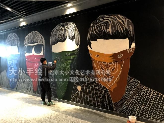 披头士乐队头像画电影院墙体彩绘 手绘墙壁画