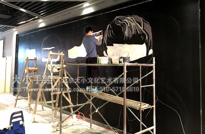 绘制了这幅墙体彩绘,给人以怀旧却感却又不失时尚