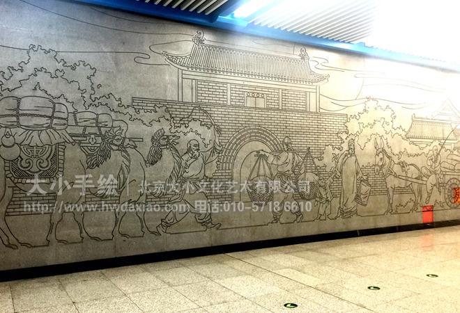 走廊墙面雕塑 办公手绘墙 涂鸦壁画 浮雕艺术 老北京生活 商场手绘墙图片