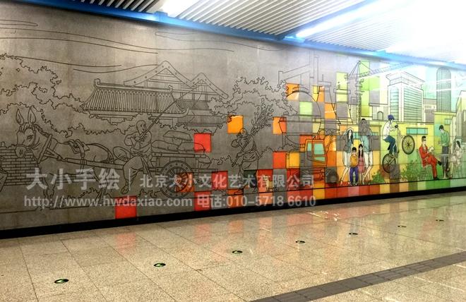 走廊墙面雕塑 办公手绘墙 涂鸦壁画 浮雕艺术 老北京生活 商场手绘墙