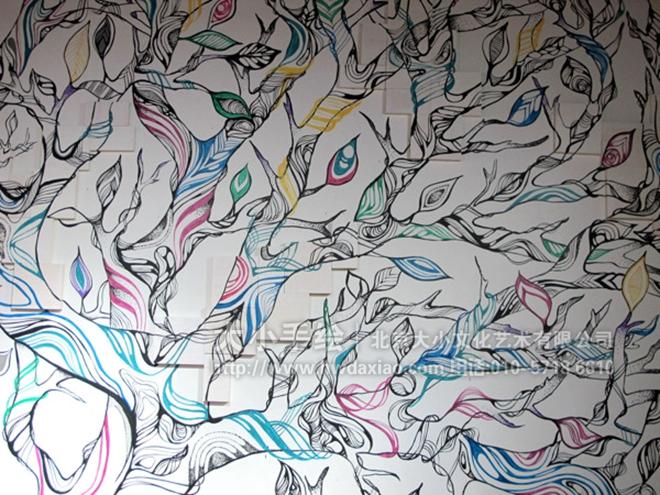 奇幻色彩的树木餐厅手绘墙壁画 墙体彩绘