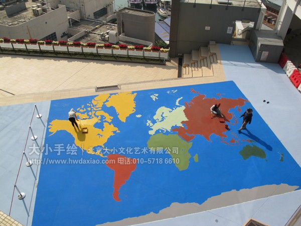 街道创意墙绘 外墙壁画 仓库壁画 楼顶壁画 世界地图 文化墙彩绘 餐厅
