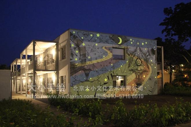 夜光星空大型外墙手绘墙壁画 墙体彩绘