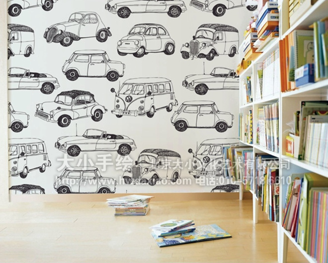 汽车 幼儿园手绘墙