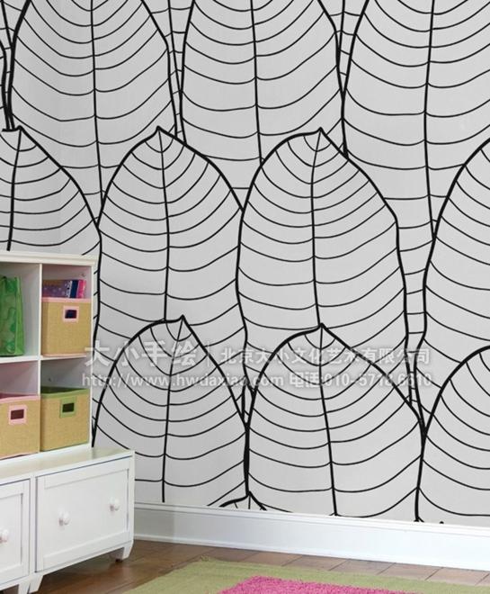 创意墙绘 教室壁画 儿童房手绘墙 涂鸦 上色 黑白线稿 卡通 兔子 汽车