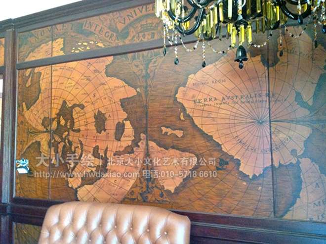 欧式仿旧风格古老羊皮地图手绘墙壁画