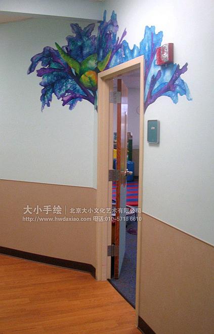 儿童房手绘墙 医院手绘墙 风景 河岸 海豚 水母 早教中心彩绘 校园