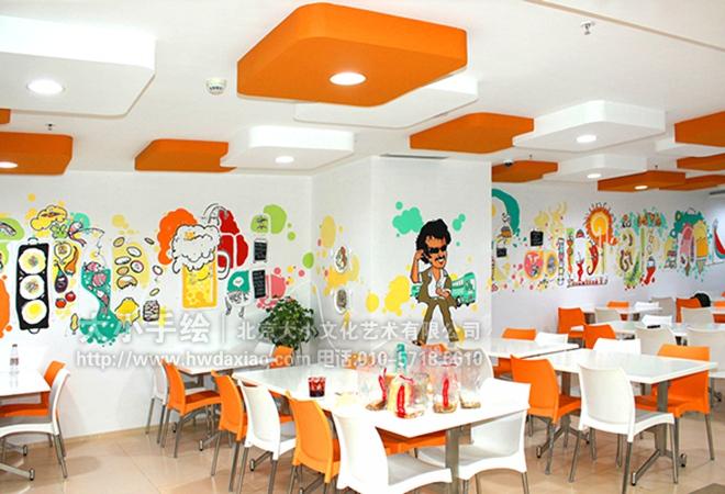 多元化卡通办公空间手绘墙壁画