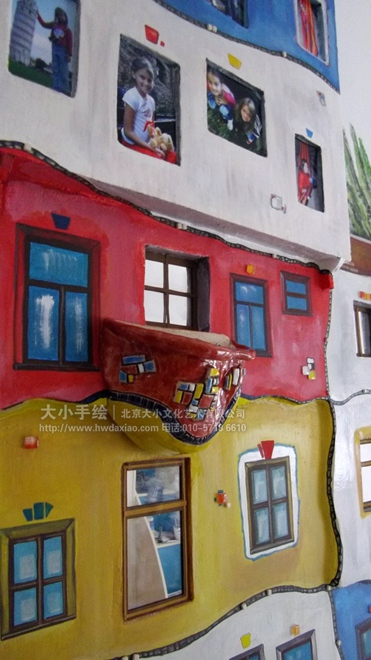 儿童房手绘墙 医院手绘墙 建筑 照片墙 房子 早教中心彩绘 校园手绘墙