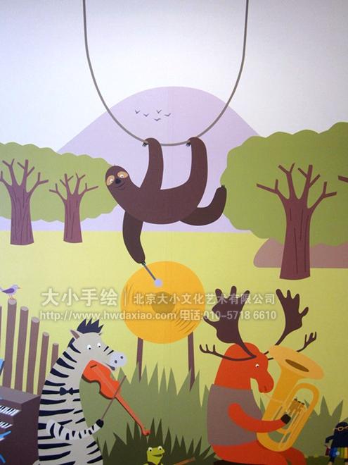 动物音乐会--幼儿培训中心卡通手绘墙壁画 墙体彩绘