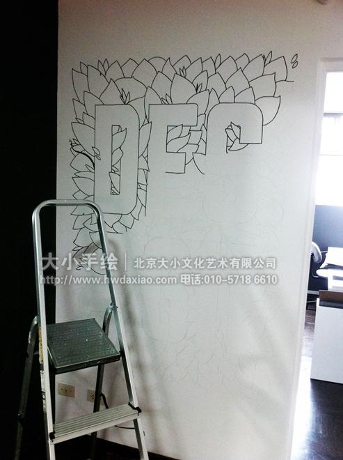 精致logo墙 办公空间手绘墙壁画 墙体彩绘
