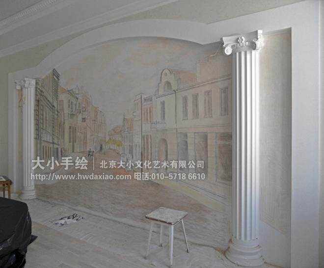 复古油画城市风景手绘墙壁画 墙体彩绘