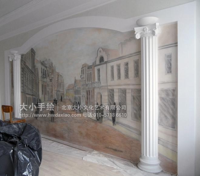 充满古典风格街道风景手绘墙壁画,在欧式风格房间内,在装饰了