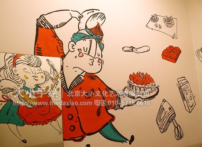 快乐小夫妻趣味餐厅手绘墙壁画 墙体彩绘