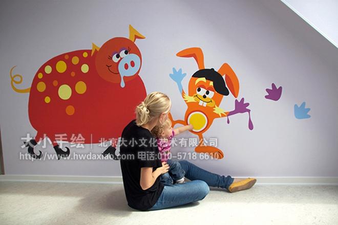 外国幼儿园可爱卡通动物手绘墙壁画欣赏
