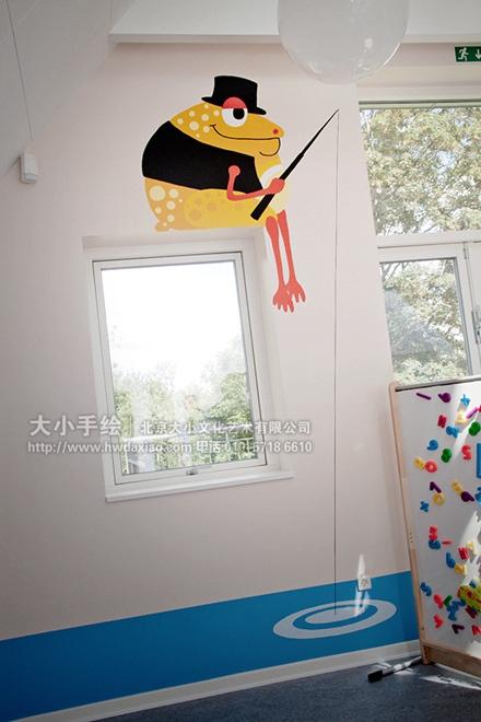 国外一所幼儿园的手绘墙壁画,巧妙地利用了阁楼的独特造型,让