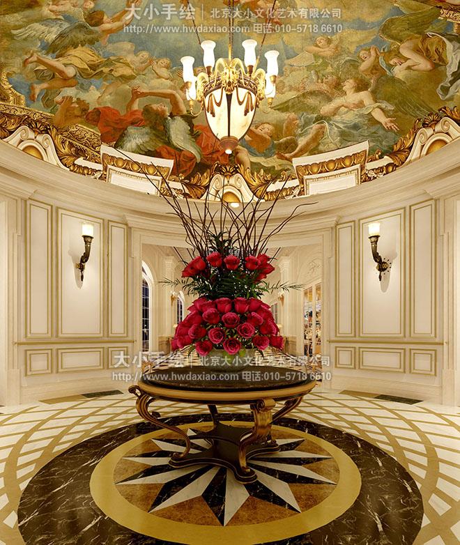 酒店大厅壁画 天顶壁画图片