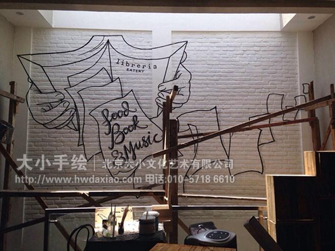 创意墙绘 办公手绘墙 餐厅手绘墙 黑白线描 书 眼镜 咖啡厅彩绘 店铺