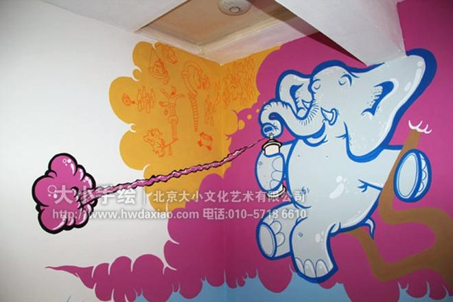 创意墙绘 教室壁画 儿童房手绘墙 幼儿园手绘墙 大象 鸟山 蓝天白云