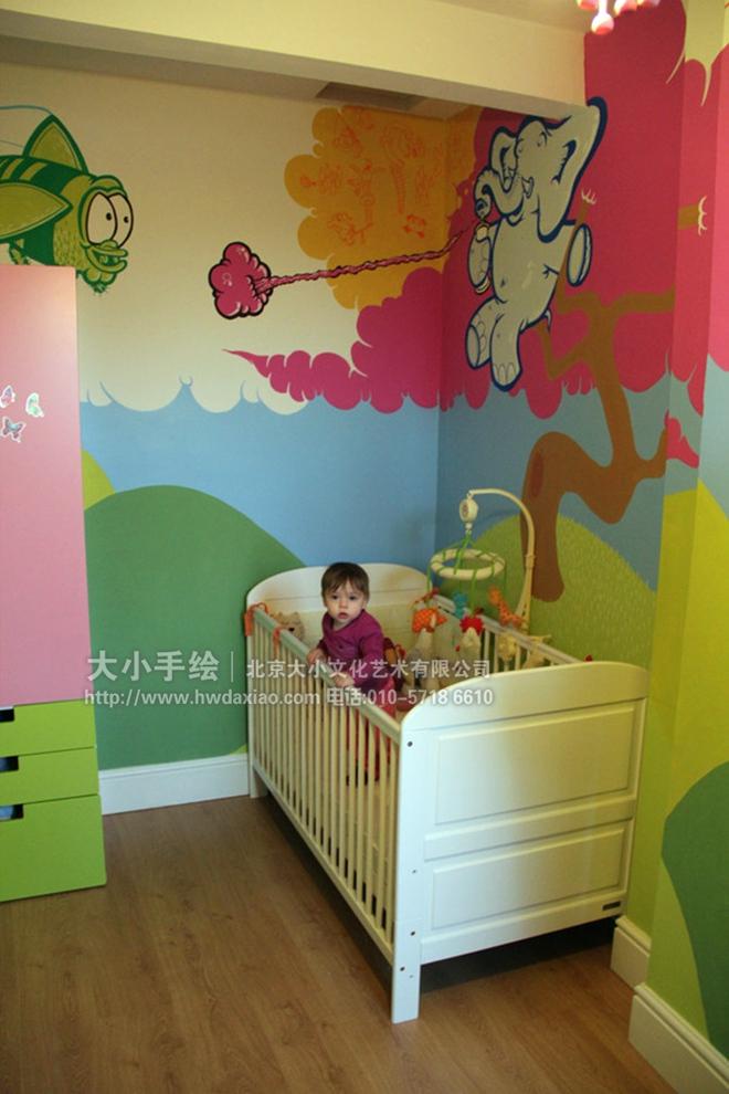 : 创意墙绘 教室壁画 儿童房手绘墙 幼儿园手绘墙 大象 鸟 山 蓝天白