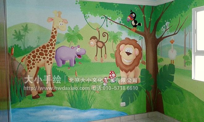 创意墙绘 教室壁画 儿童房手绘墙 幼儿园手绘墙 大象 狮子 长颈鹿